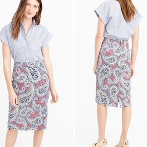 J. Crew No. 2 Pencil Skirt Pink/Blue Paisley Sz 12